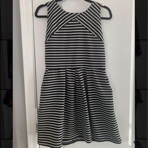 Black and white stripped semi casual dress